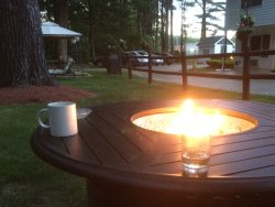 The fire pit, to enjoy a cup of coffee or a glass of wine at.