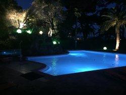 Lights show around the pool