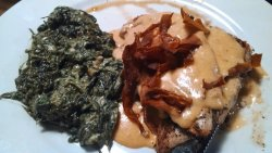 Chicken with a spicy alfredo was good. Spinach not good this time.