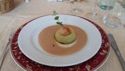 Flan di zucchine con crema di pesce e capasanta