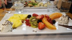 Great fruit platter and cheese platter DISGUSTING service.