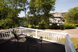Balcony at the Cranberry Lodge overlooking the Asticou Inn