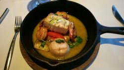 Chef's Seafood special-Halibut, Scallop and Shrimp; great sauce