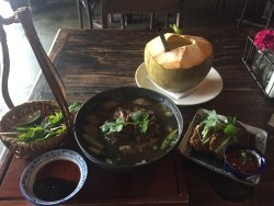 Thai fishcake, vietnamese beef noodle soup and coconut drink
