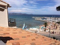 Uitzicht balkon op de beach club