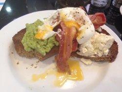 Spelt bread with avocado, feta, crispy bacon and feta - yum, yum!