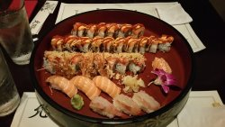 """Christina"" Roll along with my favorite fresh salmon, and sweet shrimp, and"