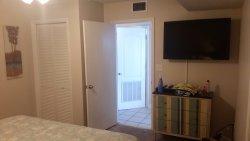 Bedroom facing the door