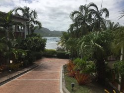 Views to the harbour from walkway to villas