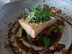 Asian salmon served with wonderful rice