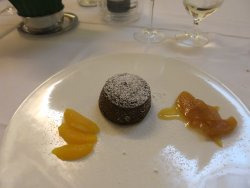 Pure chocolate cake with orange and carmelized pears