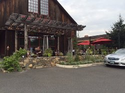 Front of restaurant with outdoor seating
