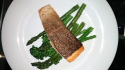 Trump Tower Toronto - room service, Roasted Salmon with asparagus - hmm hmm good.