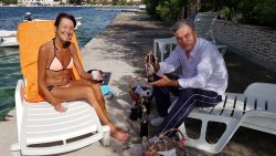 Sampling Ivan's home made liqueurs....