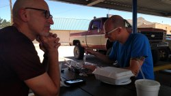 My pop and I enjoying the DELICIOUS food!