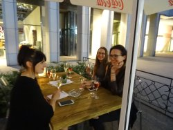 Outside: sipping wine with tapas