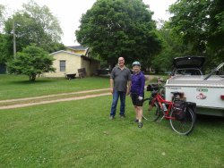 Peter let us keep our Kamparoo and car in his yard for a week while we cycled the Conferation Tr
