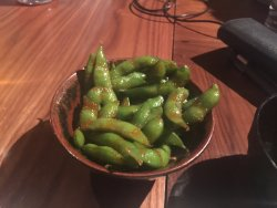 spicy edamame, I don't feel the spice added anything, I prefer the plain edamame