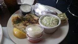 broiled cod with cole slaw and baked potato