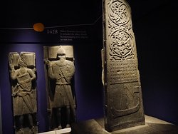 Some of the gravestones from the burial ground now in the Abbey museum