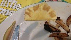 """fresh pineapple and burnt potatoes"""