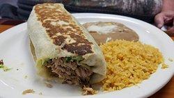 Chili Verde Plate and Senõr Burrito Plate (pulled pork)