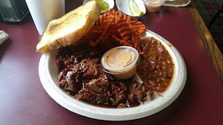 Two Meat Dinner (Burnt Ends, Brisket) with Baked Beans, Sweet Potato Fries
