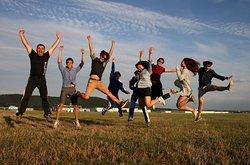 Happy skydivers