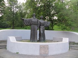 Monument to the founders of Cherepovets - Monks Feodosy and Athanasius