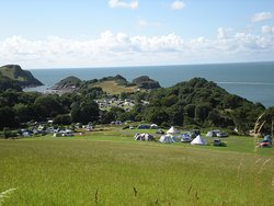 A selection of photos of the campsite and the nearby, secluded Broadsands Beach