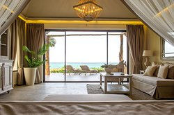 A bed with a view at Zawadi Hotel Zanzibar