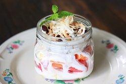 Energy jar with fruit and yogurt