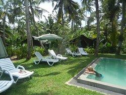 Pool toward luxury tents