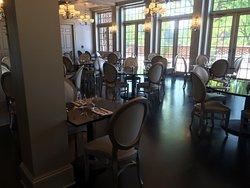 Indoor dining area overlooking terrace