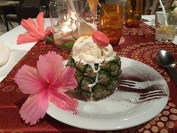 Dessert personnalisé fait par les chefs Subash et Kersley