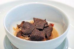 Dim sum, chicken giblets, black truffle and hazelnut.