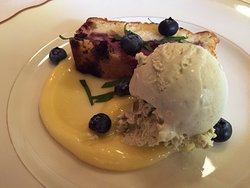 Blueberry Olive Oil Cake with Basil Ice Cream