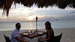 Romantic dinner enjoying the sunset