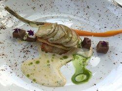 zwaardvis met een dakje van aardappel