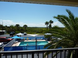View from 2nd floor looking out back at the pool.