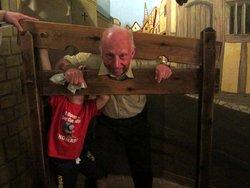 Grandpa in the stocks