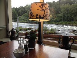 The view of rapids from the restaurant.