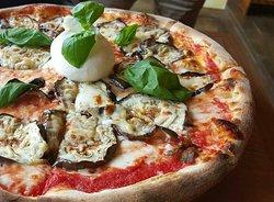 Pizza with burrata and eggplant