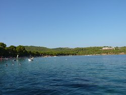 Koukunaries Beach (Skiathos Palace Hotel-visible in the distance)