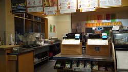 Front counter at Jamba Juice, yes they are open