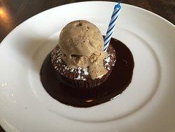 Fallen Chocolate soufflé cake with coffee ice cream