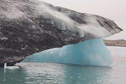 a black and a blue iceberg