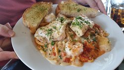 lunch portion of seafood pasta