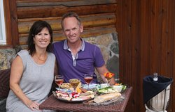 Laura & Alan enjoying their meat & Cheese Plate