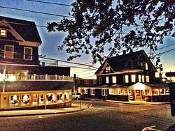 Woods Hole Inn at dusk on Water Street in Woods Hole, MA Cape Cod